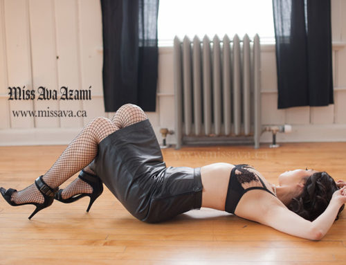 Posing on the Ground. Wearing Leather Skirt, Heels, and Leather Bralette. (Miss Ava Azami, February 2019)